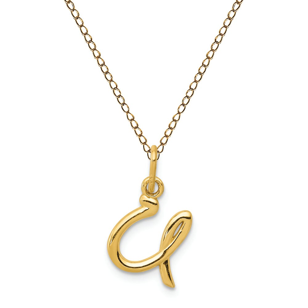Script U Initial Necklace in 14k Yellow Gold