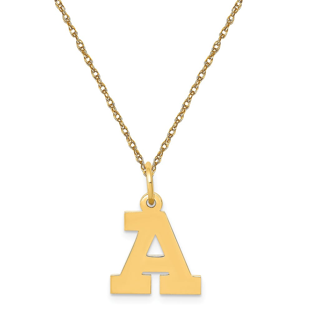 Small Block A Initial Necklace in 14k Yellow Gold