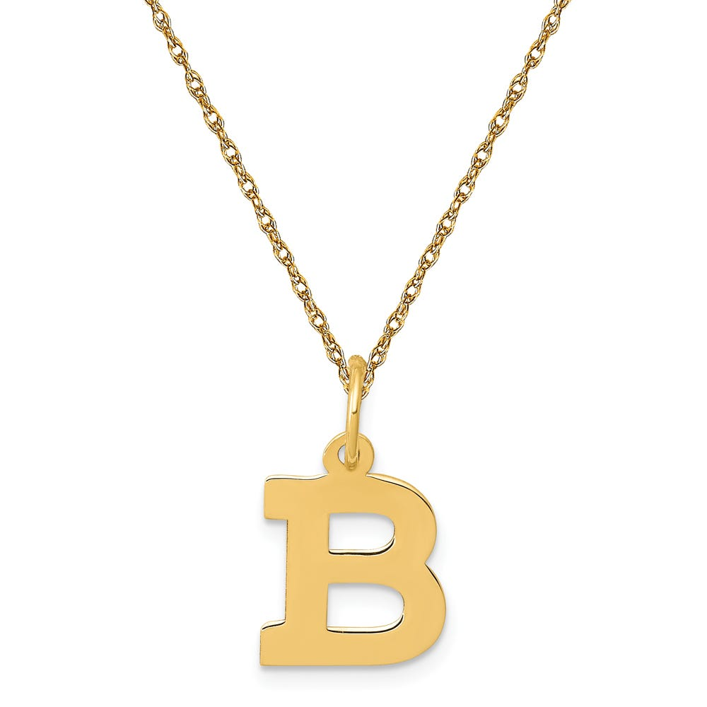 Small Block B Initial Necklace in 14k Yellow Gold