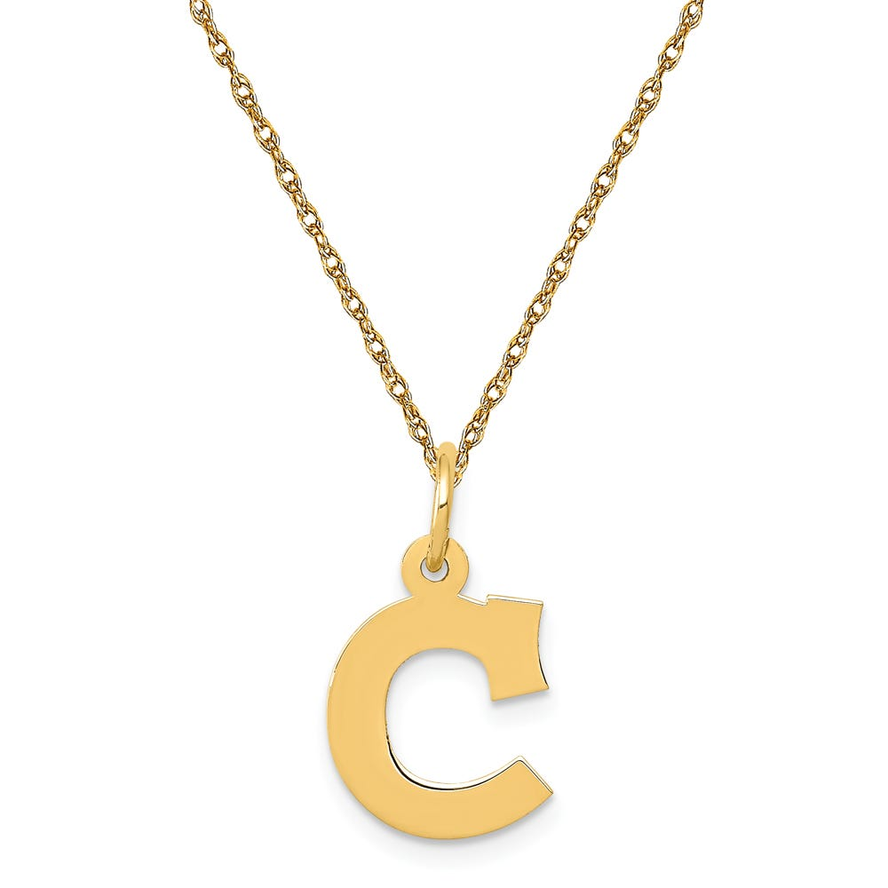 Small Block C Initial Necklace in 14k Yellow Gold