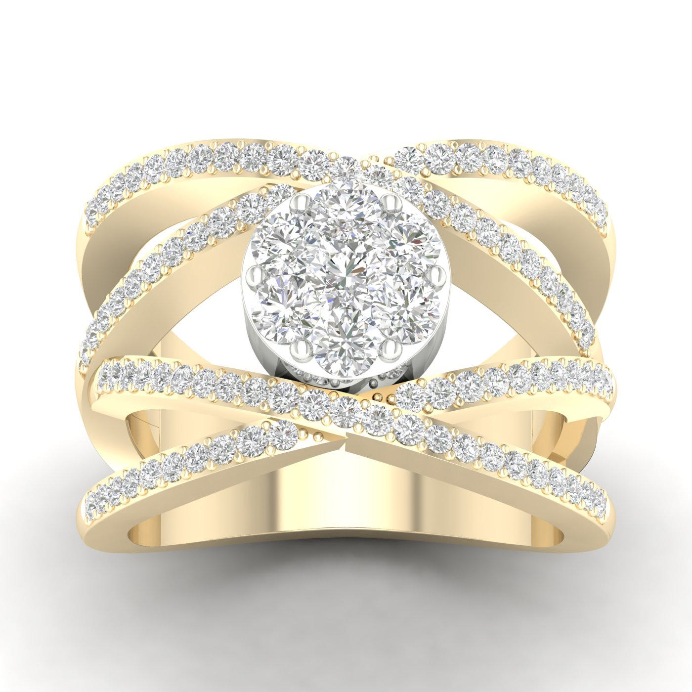 Crossover Fashion Ring 1ctw in 14k Two-Tone