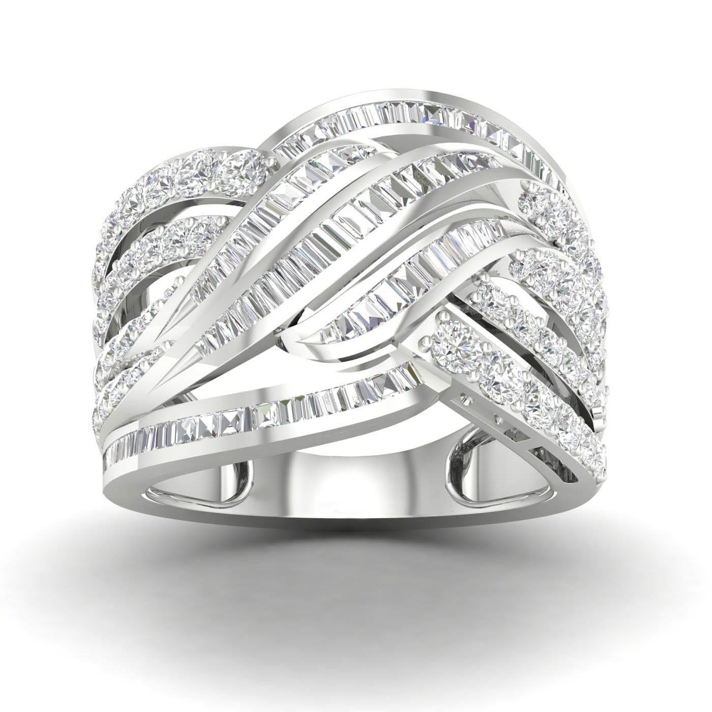 Twist Fashion Ring 1.50ctw in 10k White Gold