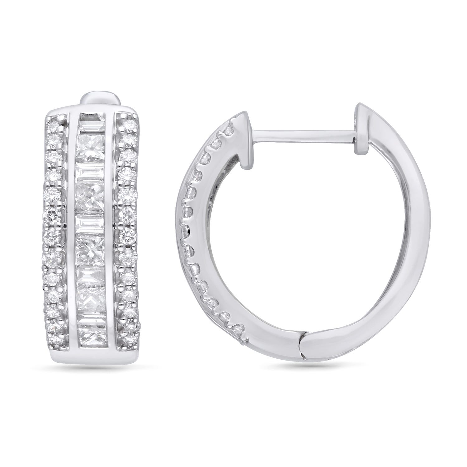 Hoop Earrings 1ctw in 14k White Gold