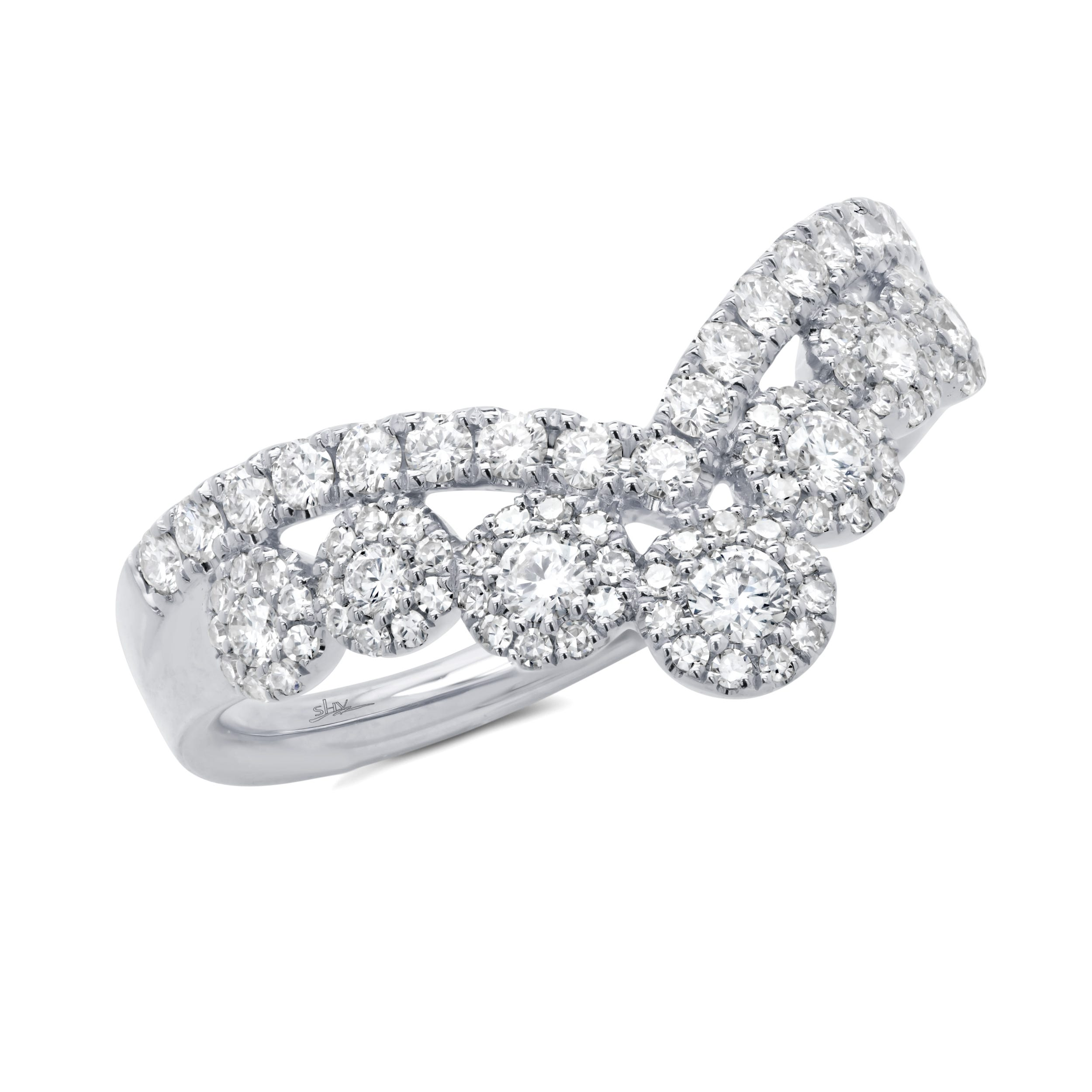 Shy Creation Cluster Chevron Ring .66ctw in 14k White Gold