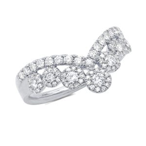 Shy Creation Cluster Chevron Ring 66ctw In 14k White Gold