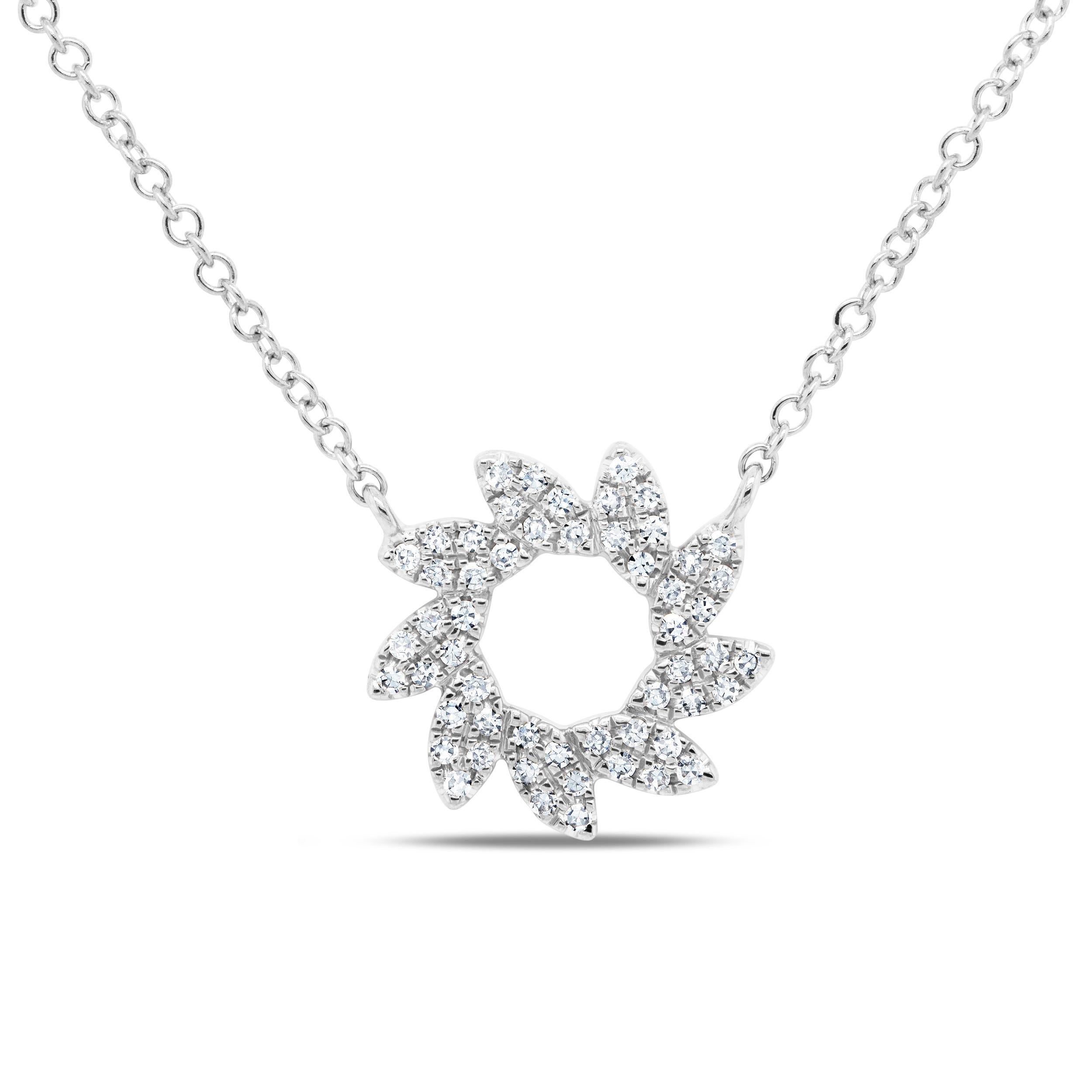 Shy Creation Flower Necklace .13ctw in 14k White Gold