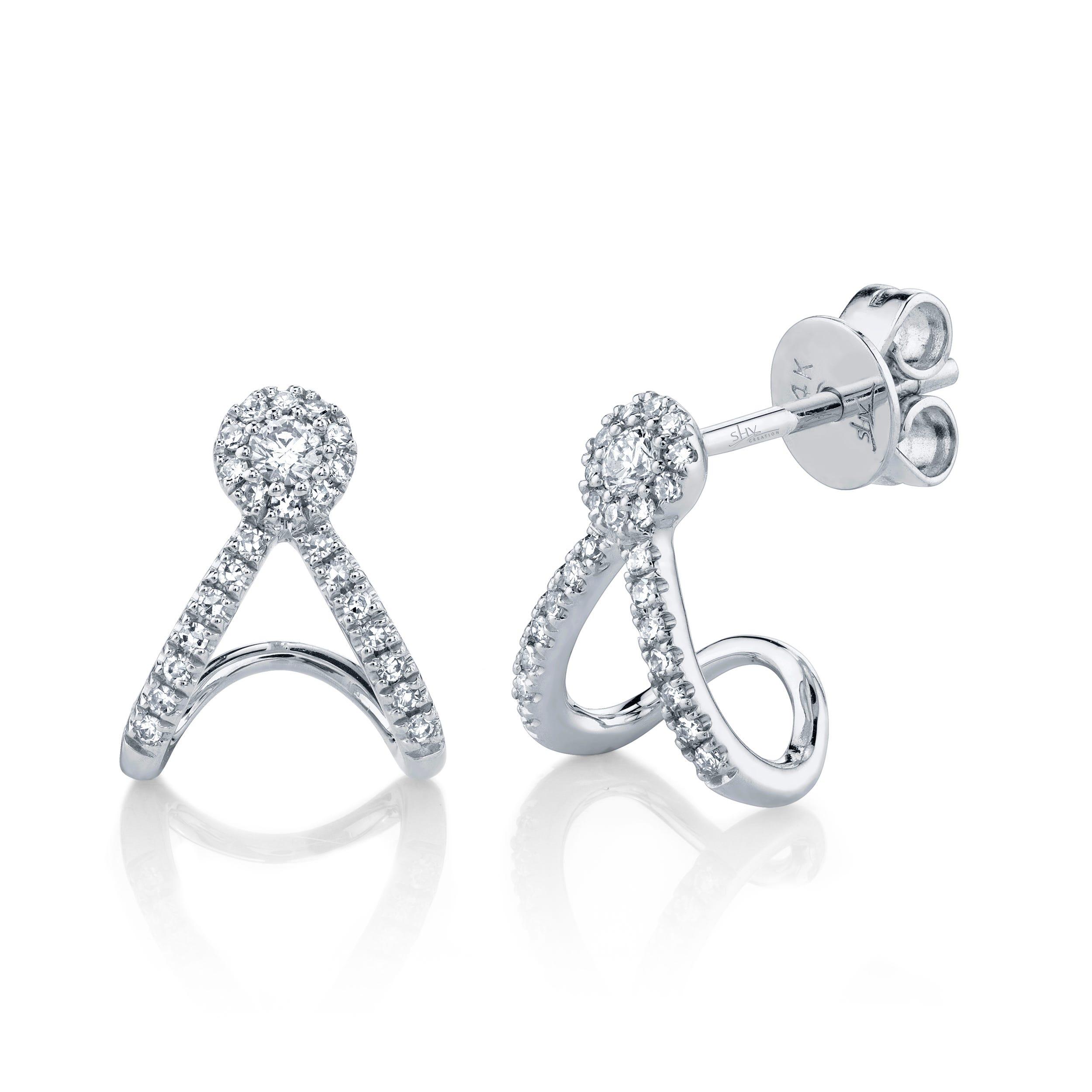 Shy Creation Halo Split Wrap Earrings .20ctw in 14k White Gold SC55005454