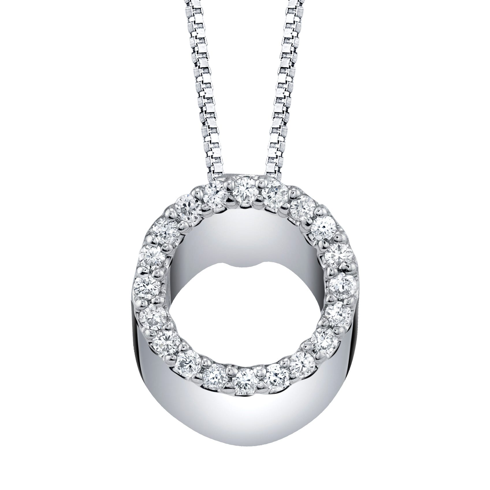 Circle Pendant 1/10ctw in 10k White Gold