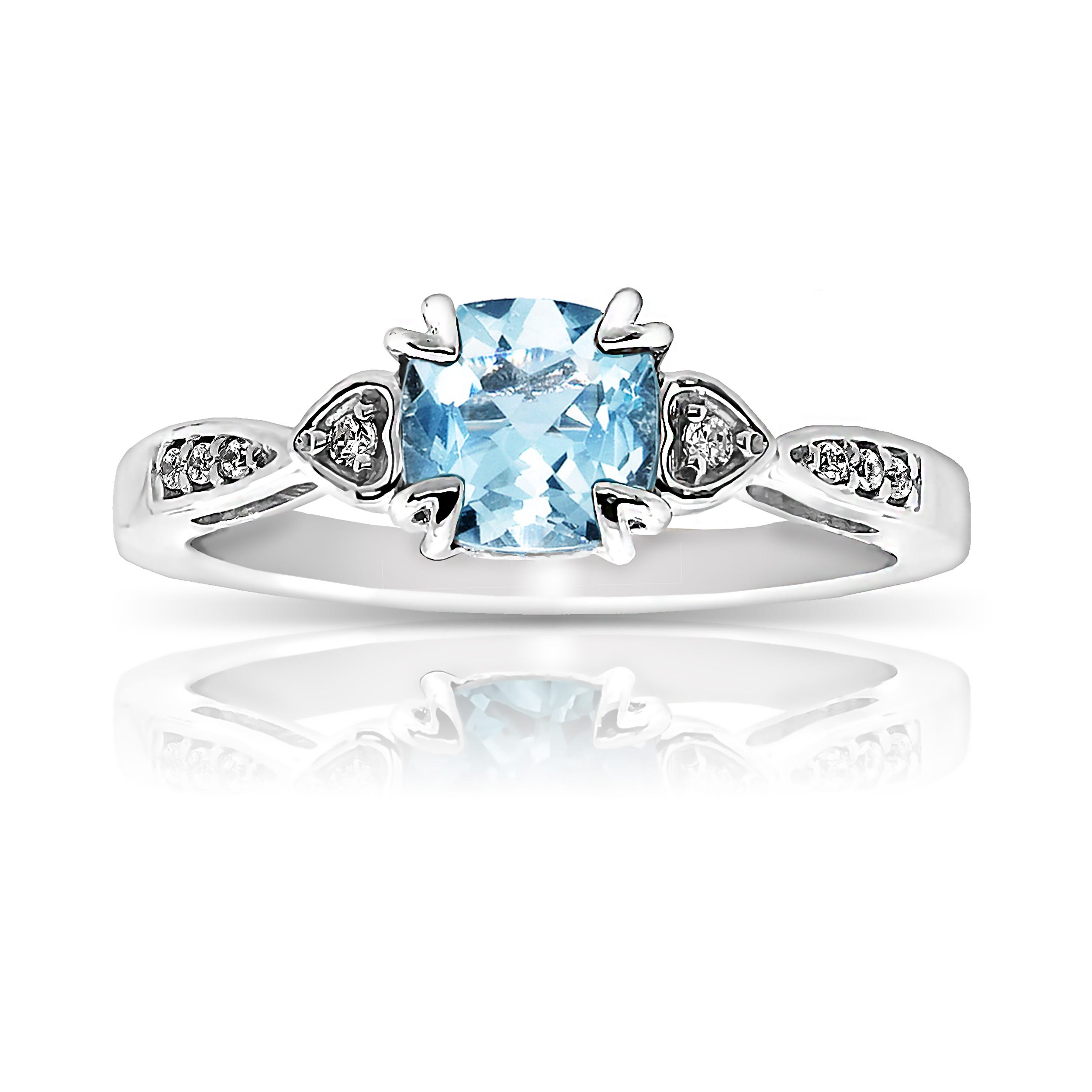 Aquamarine & Diamond Ring in 10k White Gold