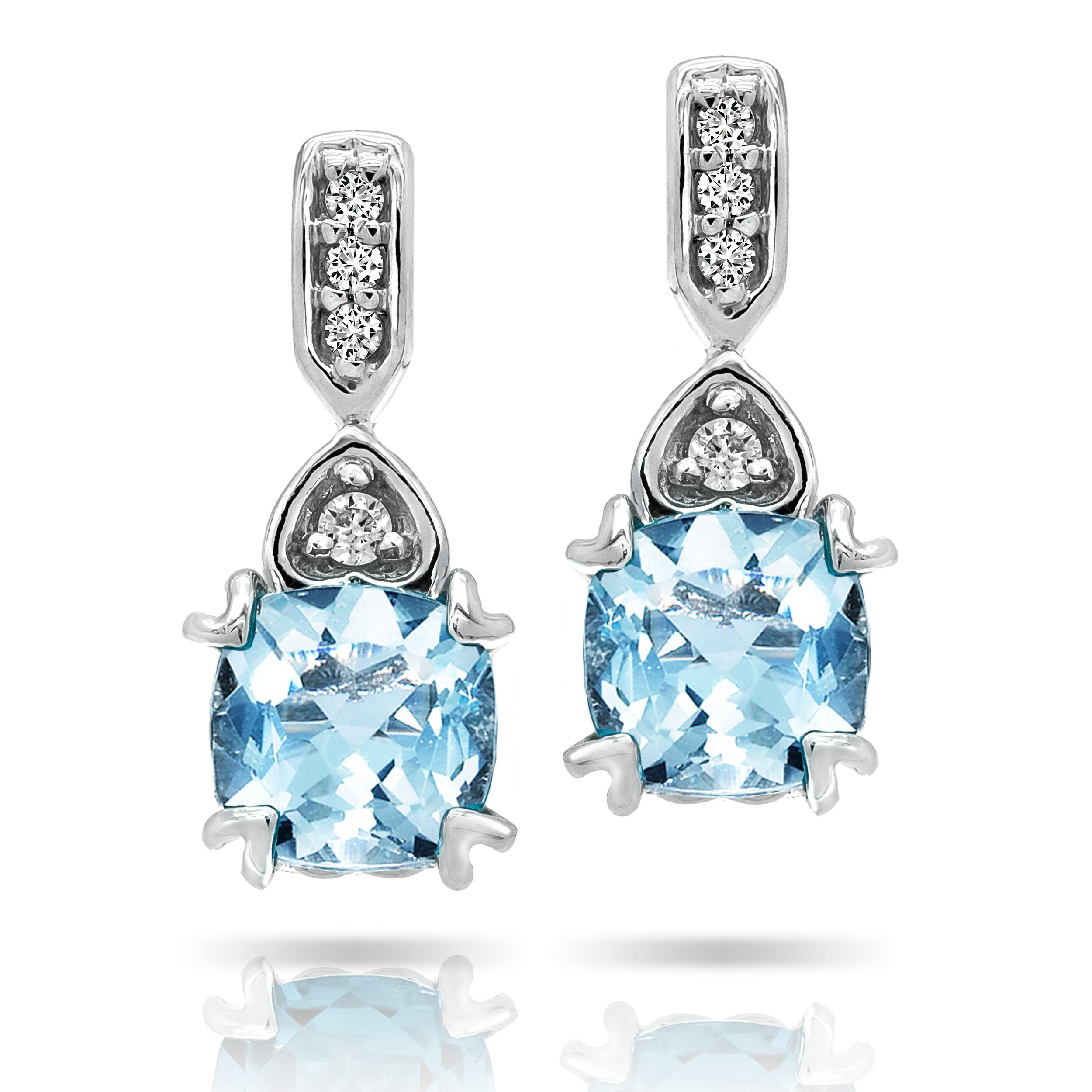 Aquamarine & Diamond Earrings in 10k White Gold
