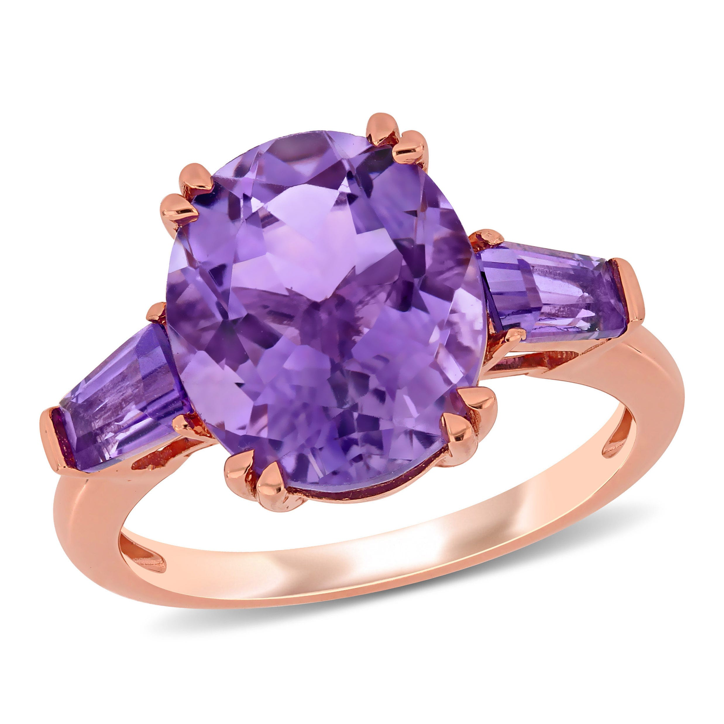 Oval 4 3/8ctw Amethyst Ring in 14k Rose Gold