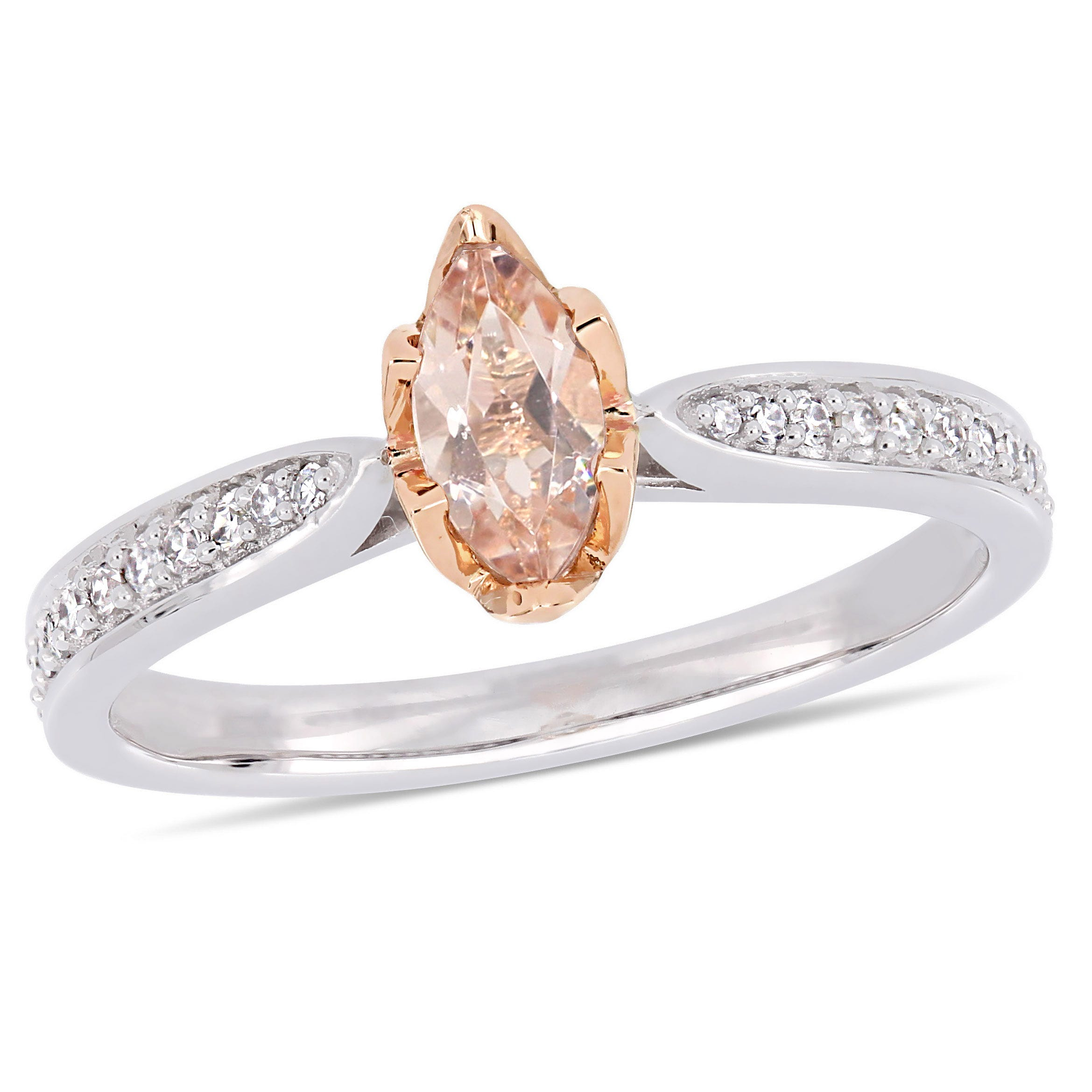 Marquise Cut Morganite and Diamond Ring in 14k Rose Gold