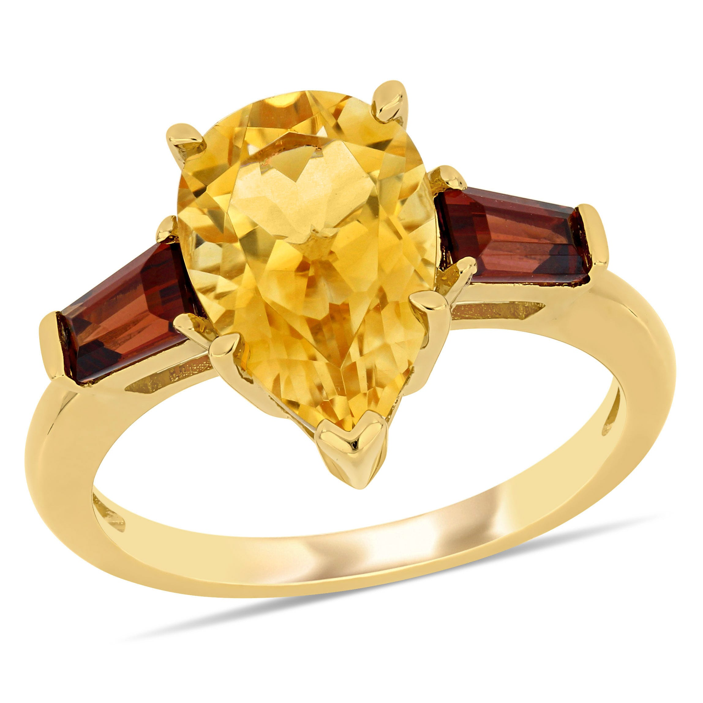 Citrine and Garnet Pear Shaped Ring in 14k Yellow Gold