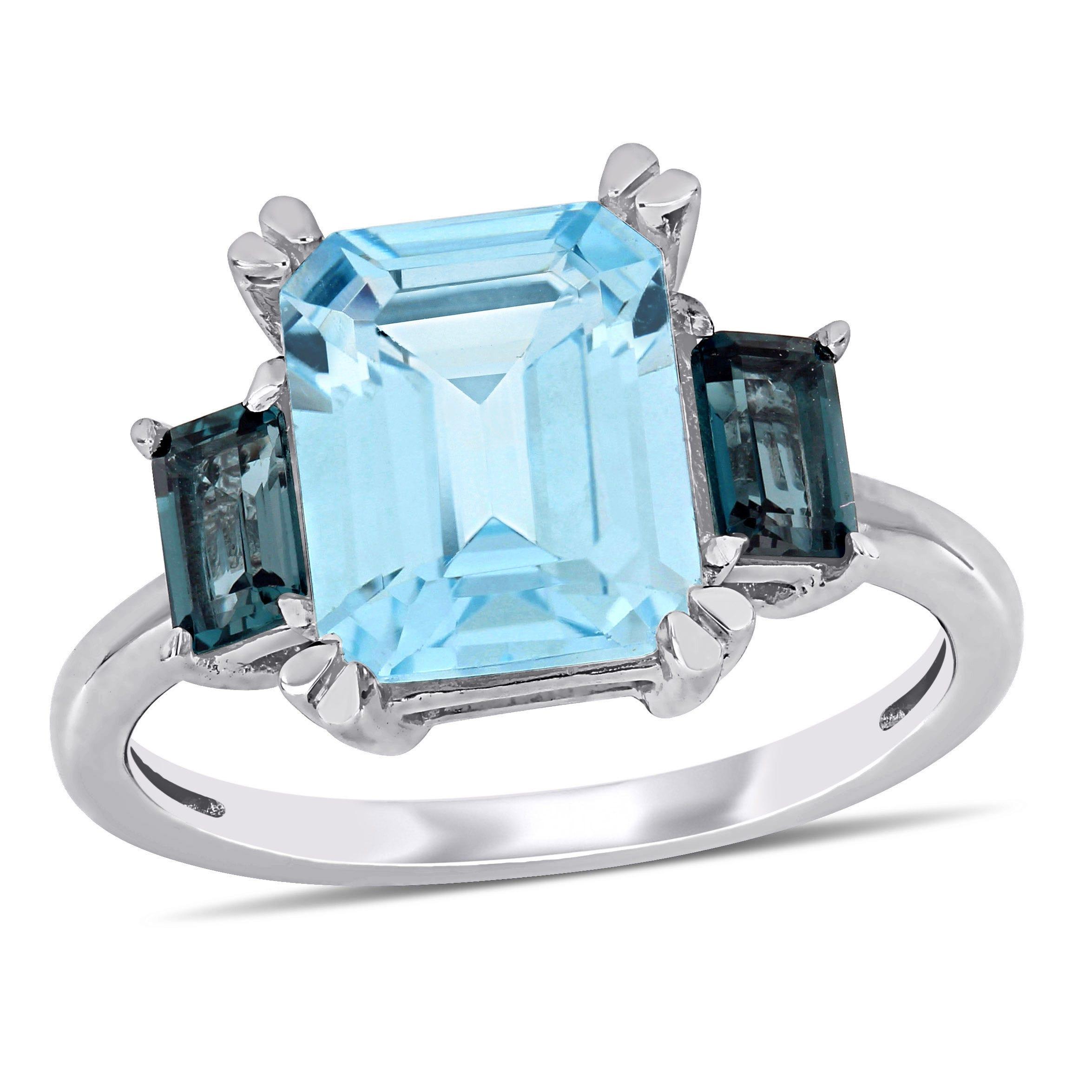 Sky Blue Topaz and London Blue Topaz Ring in 14k White Gold