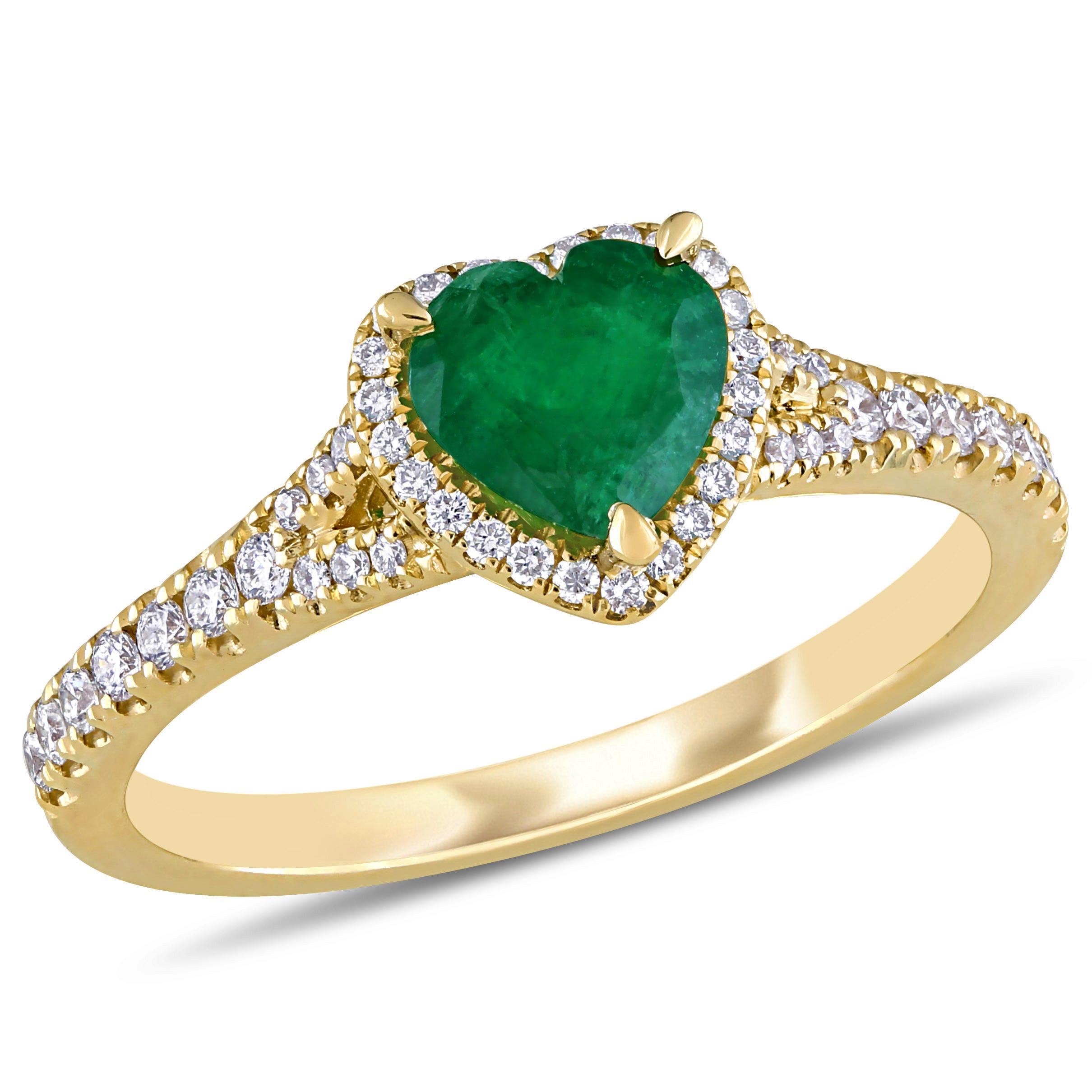 Emerald & Diamond Heart Ring in 14k Yellow Gold