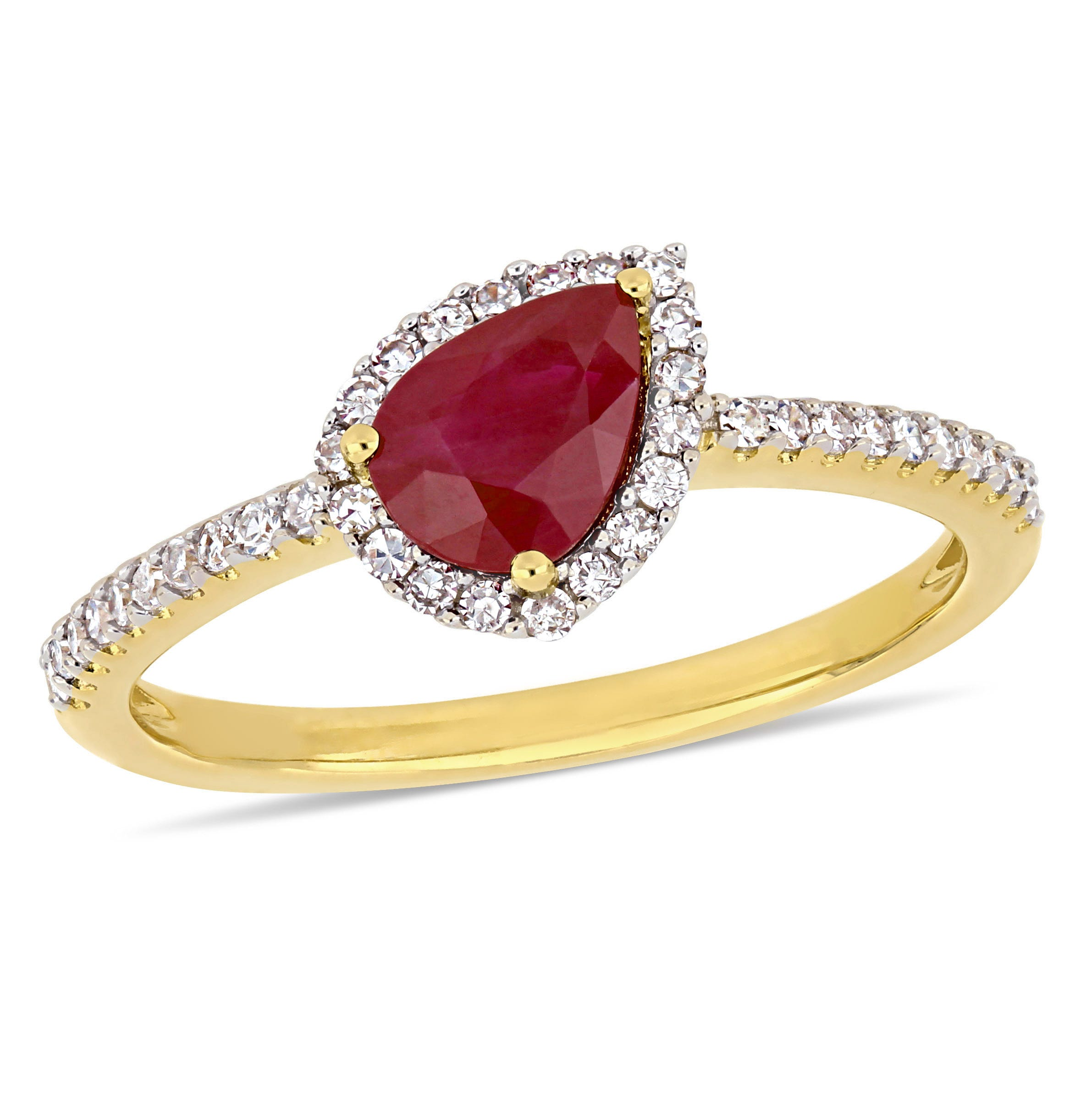 Ruby & Diamond Pear Shaped Ring in 14k Yellow Gold