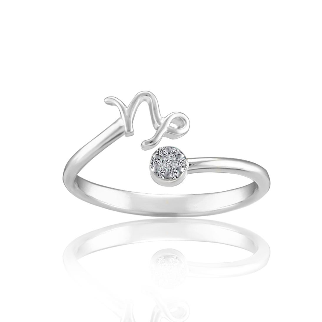Zodiac Diamond Capricorn Fashion Ring in Sterling Silver