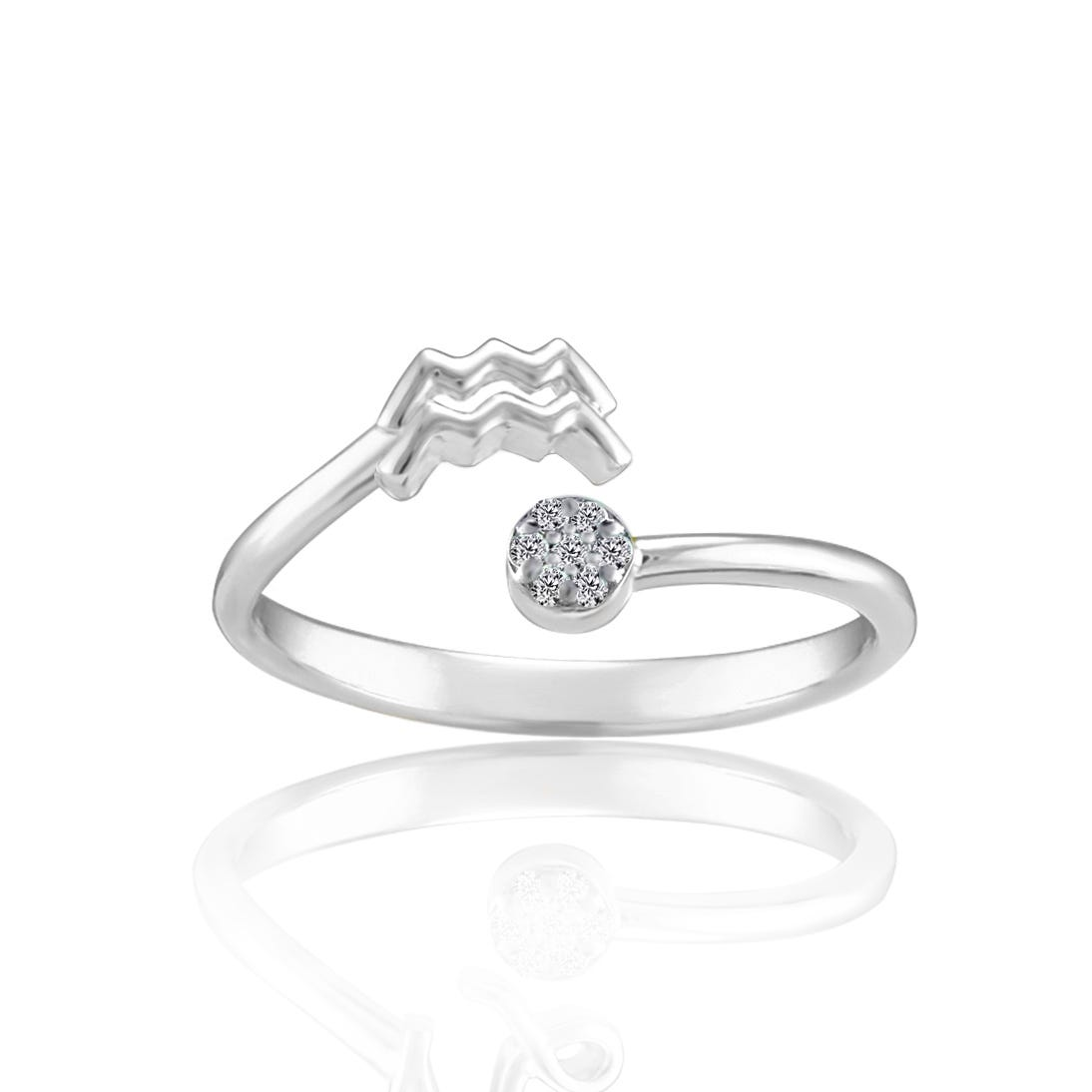 Zodiac Diamond Aquarius Fashion Ring in Sterling Silver