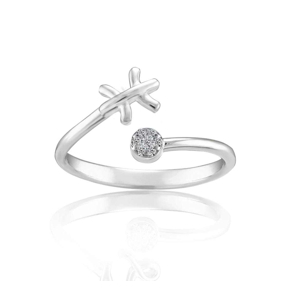 Zodiac Diamond Pisces Fashion Ring in Sterling Silver