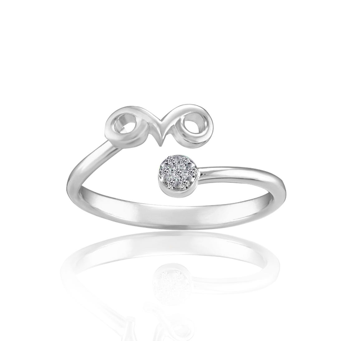 Zodiac Diamond Aries Fashion Ring in Sterling Silver