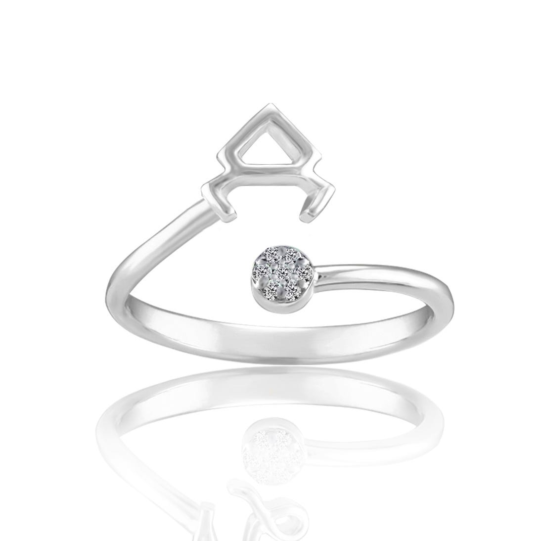 Zodiac Diamond Taurus Fashion Ring in Sterling Silver