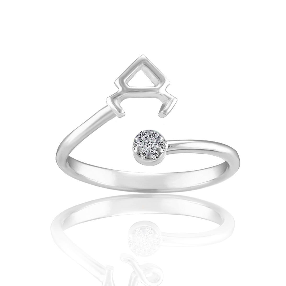 Zodiac Diamond Taurus Fashion Ring in Sterling Silver