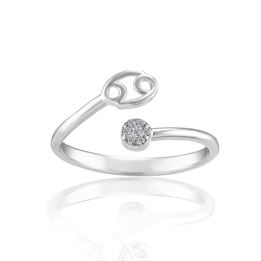 Zodiac Diamond Cancer Fashion Ring in Sterling Silver