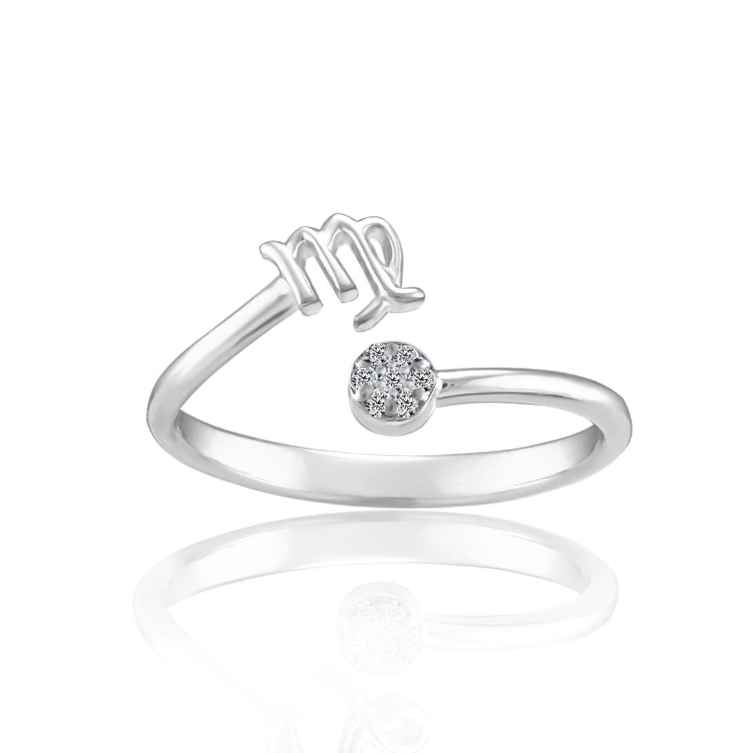Zodiac Diamond Virgo Fashion Ring in Sterling Silver