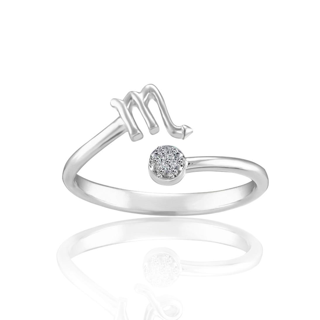 Zodiac Diamond Scorpio Fashion Ring in Sterling Silver