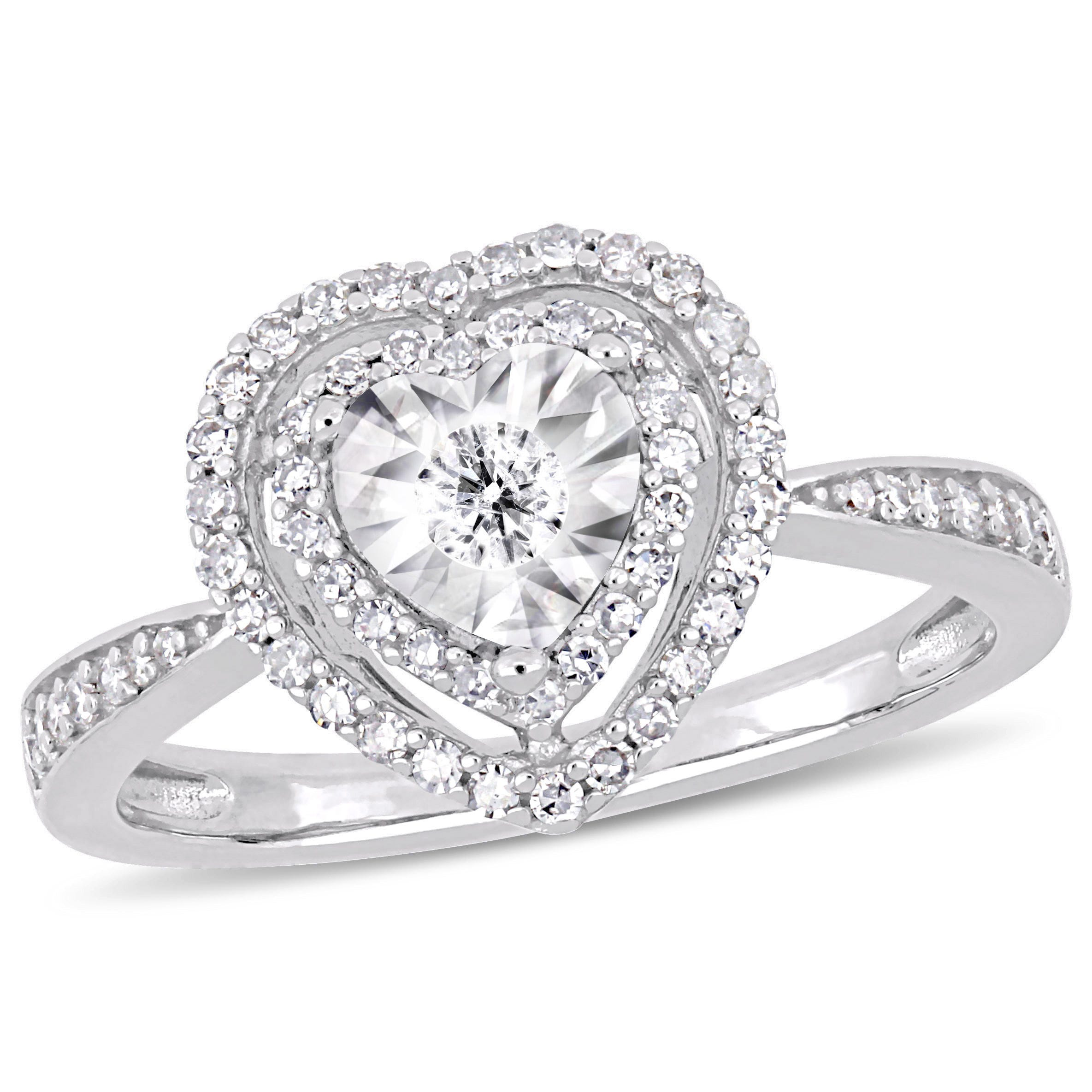 Halo Heart 3/8ctw Engagement Ring in Sterling Silver