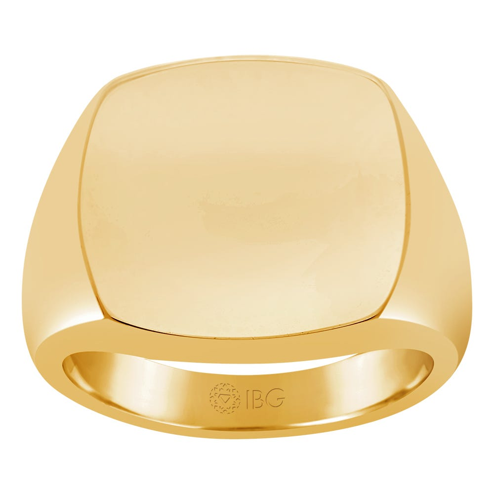 Cushion Polished Top Signet Ring 18x18mm in 14k Yellow Gold