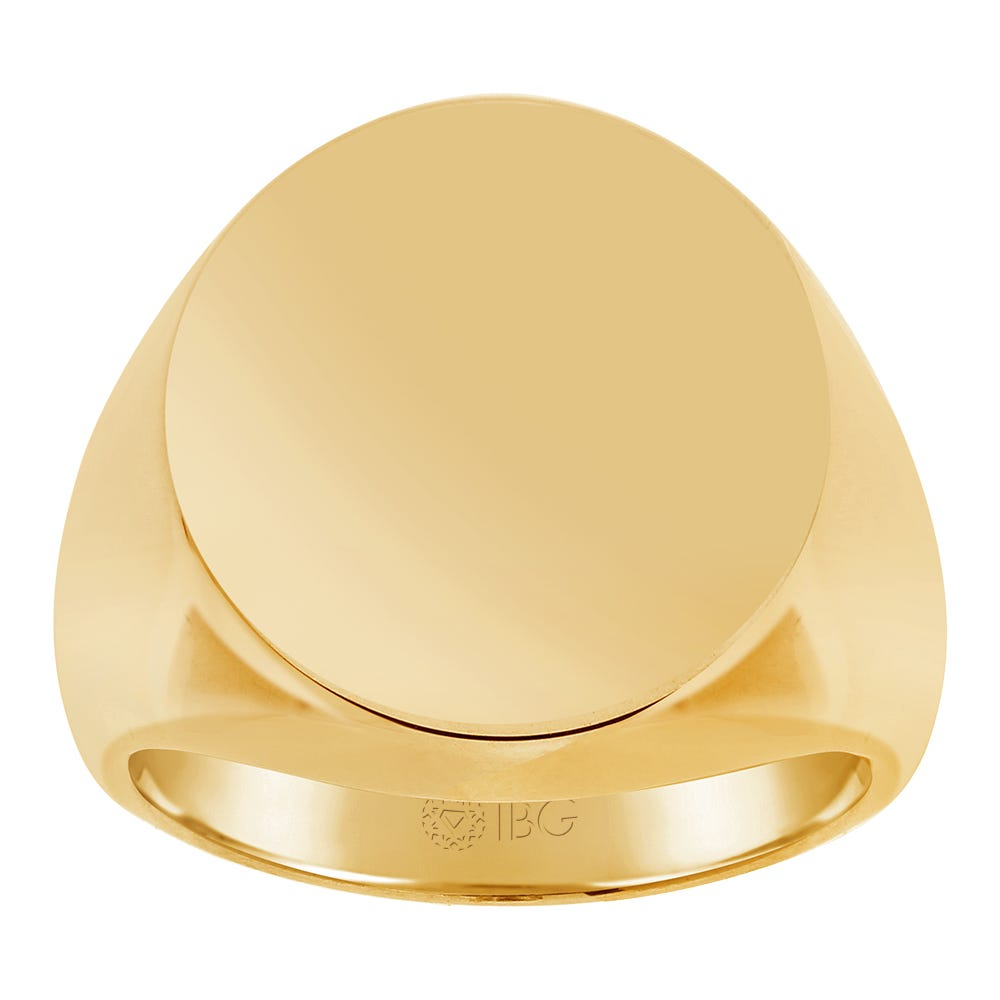 Oval All polished Top Signet Ring 18x18mm in 14k Yellow Gold
