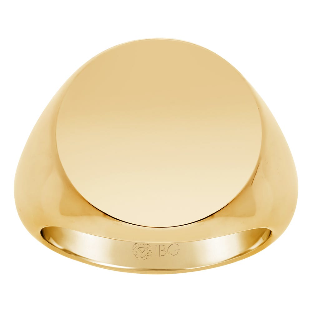 Round Satin Top Signet Ring 18x18mm in 14k Yellow Gold