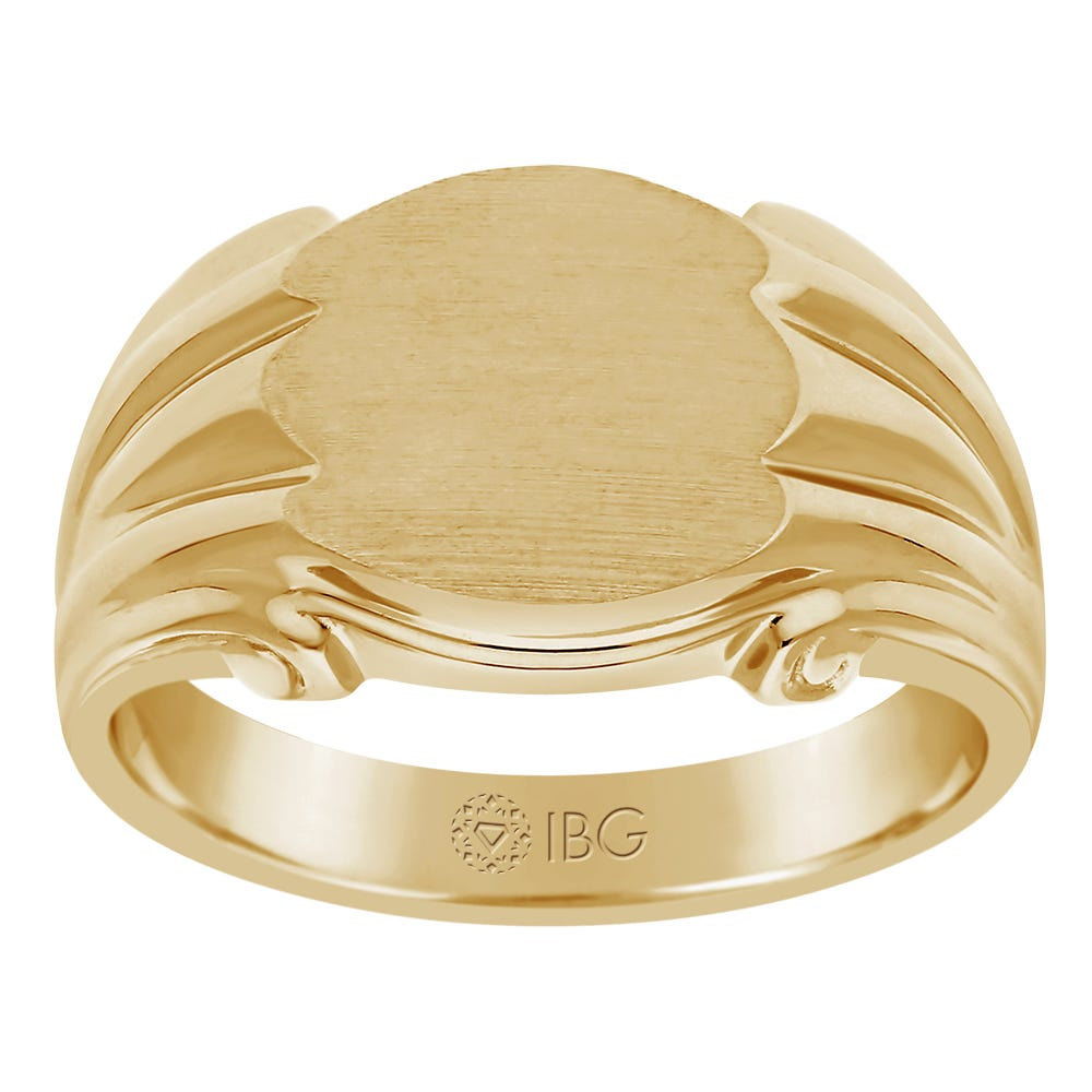 Satin Top and polished Sides Signet Ring 12x10mm in 14 Yellow Gold