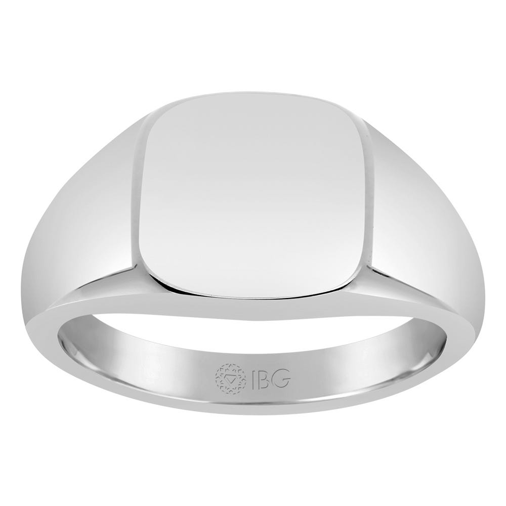 Cushion Satin Top Signet Ring 12x12mm in Sterling Silver