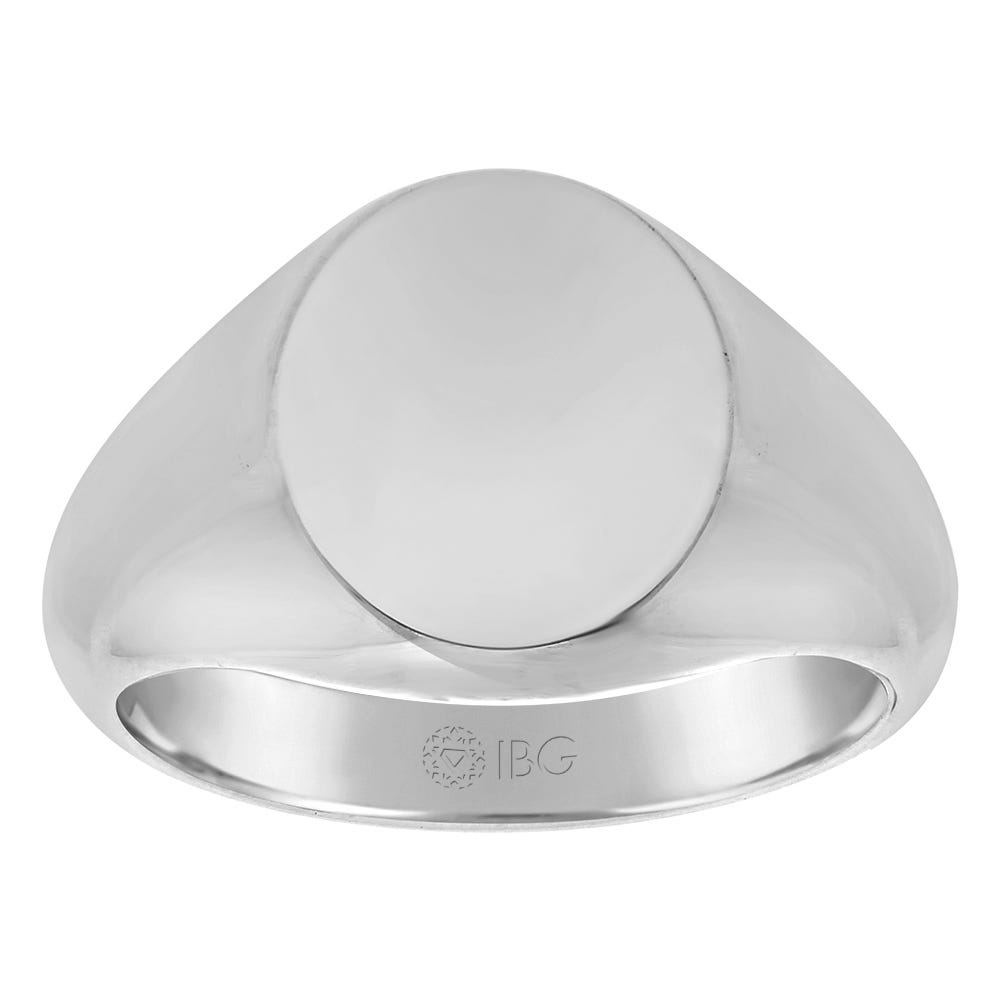 Oval All polished Top Signet Ring 14x14mm in Sterling Silver