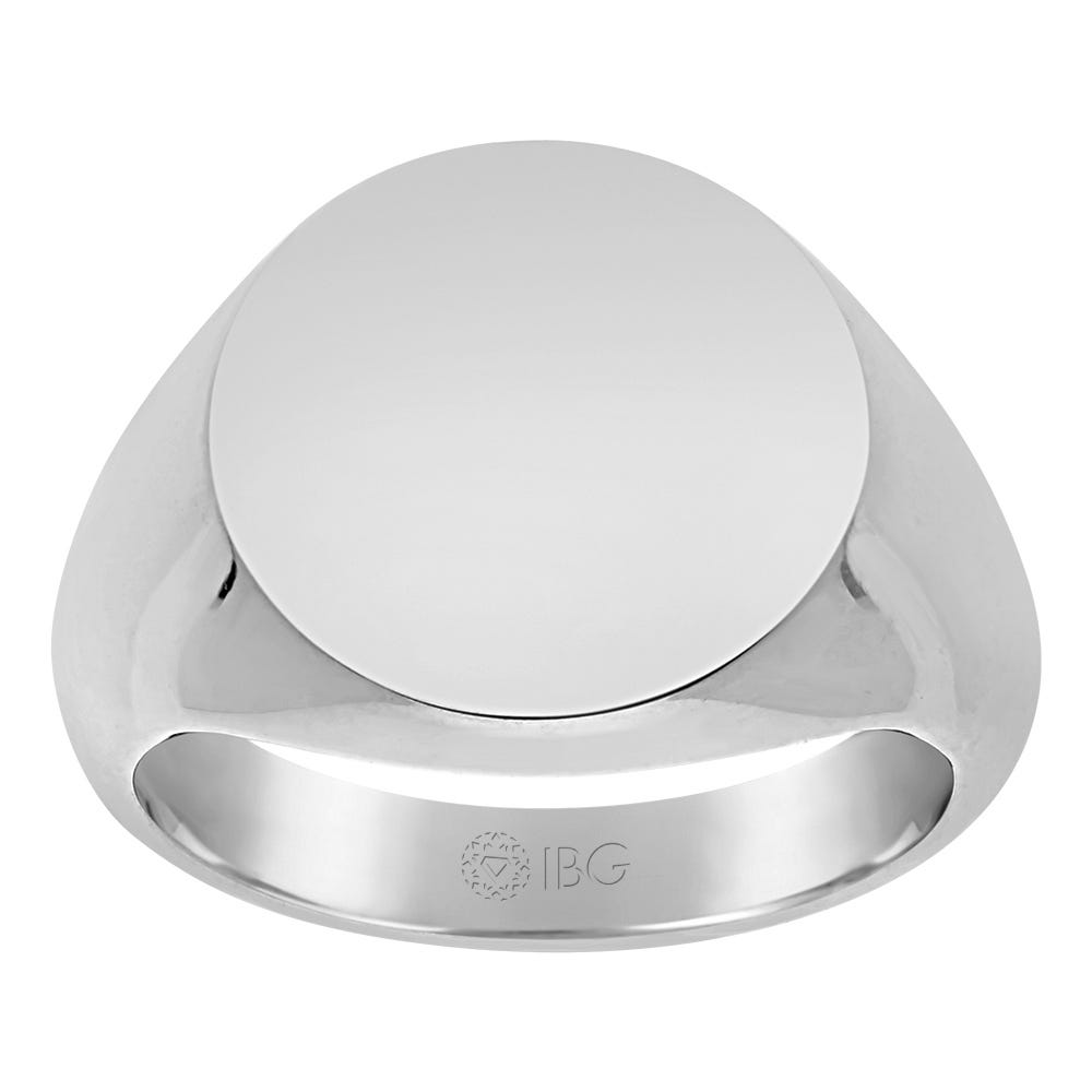 Round All polished Top Signet Ring 16x16mm in Sterling Silver