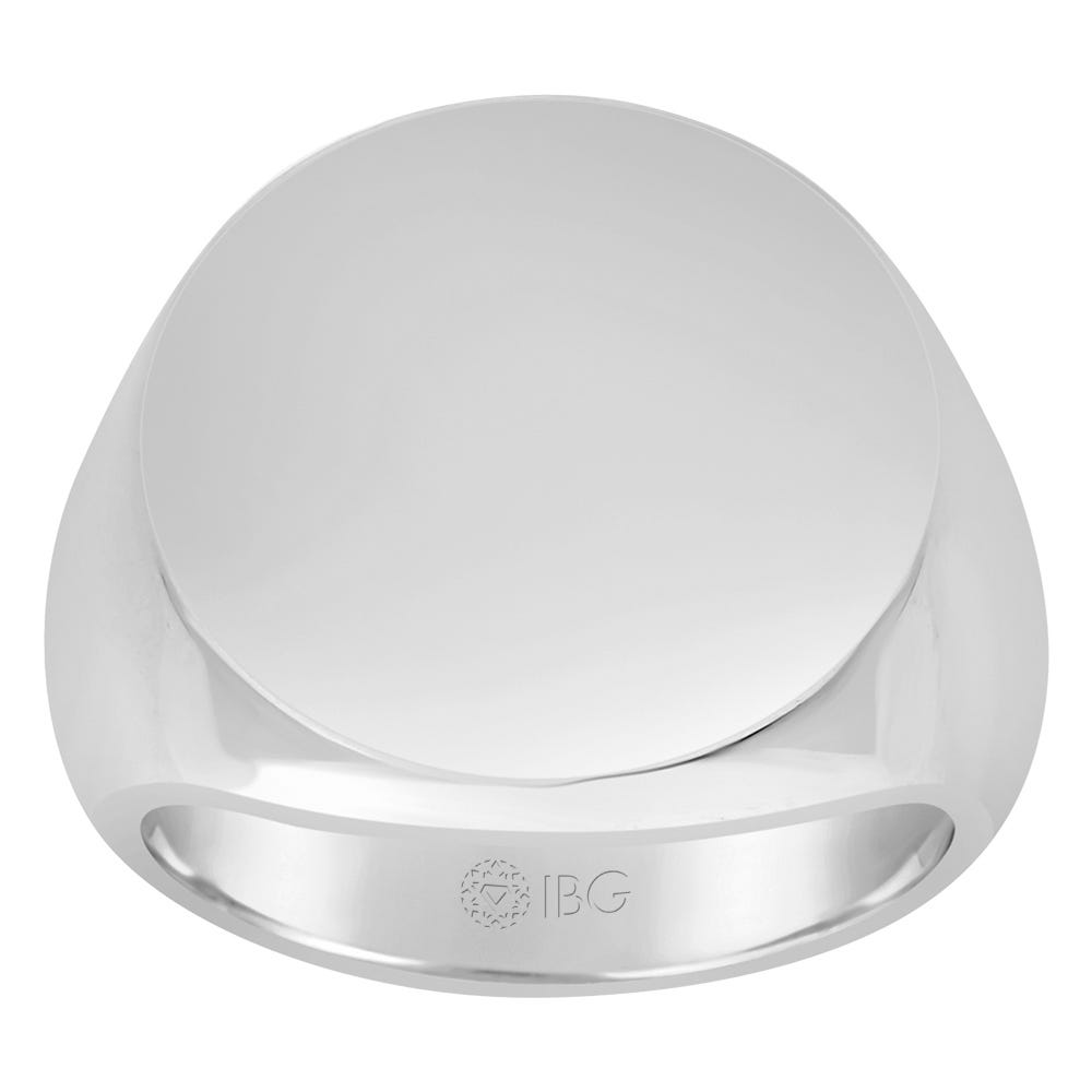 Round All polished Top Signet Ring 18x18mm in Sterling Silver