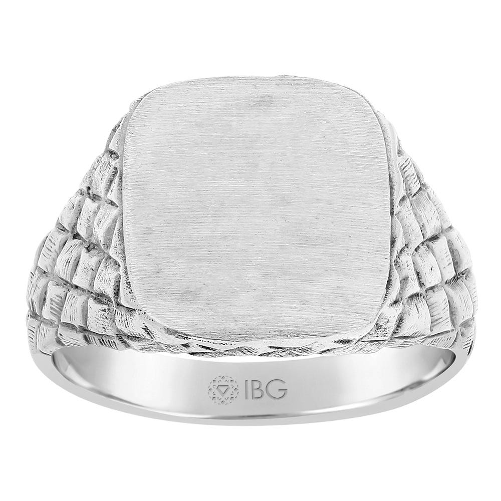 Satin Top and polished Cut Side Signet Ring 12x13.5mm in Sterling Silver