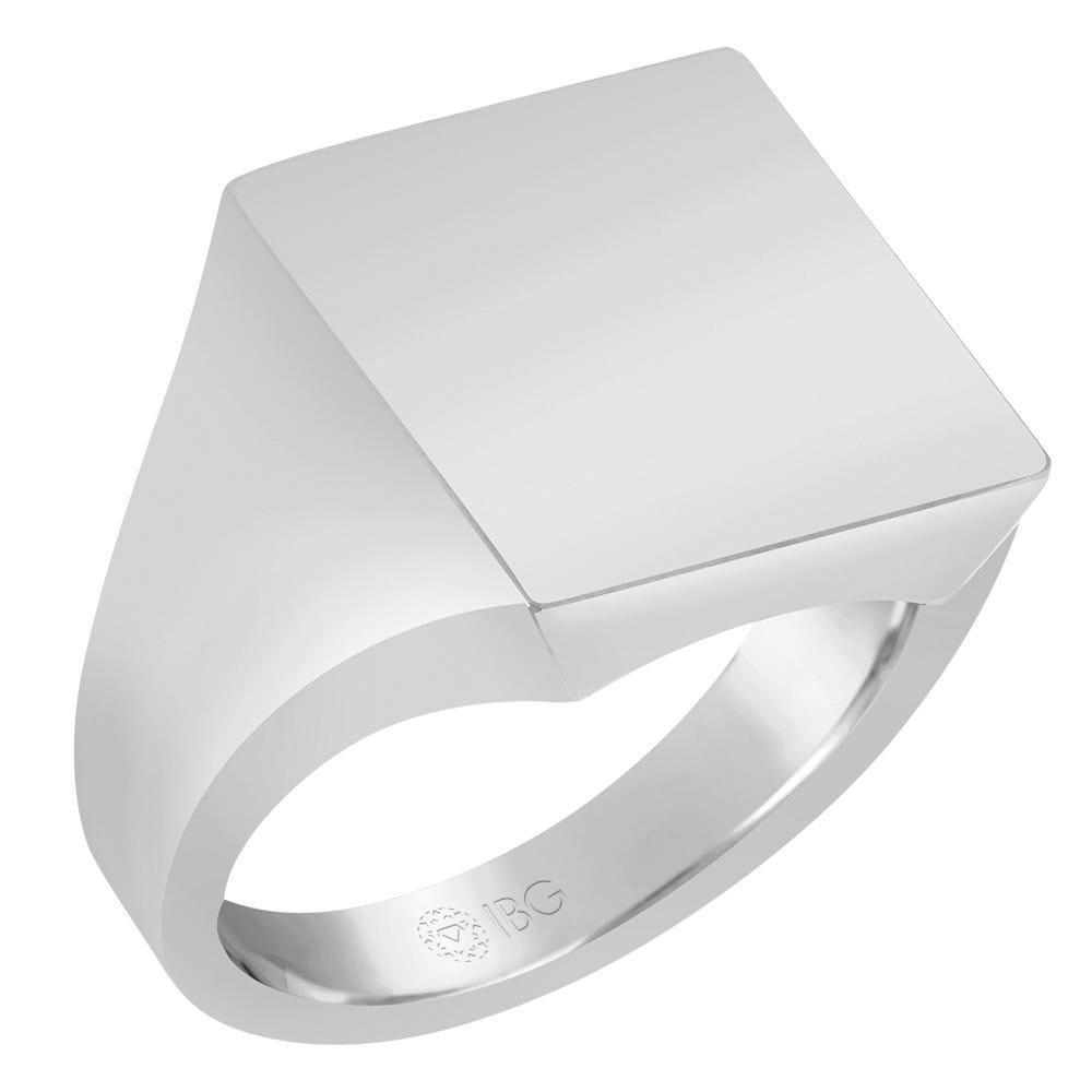 Square Satin Top Signet Ring 16x16mm in 14k White Gold