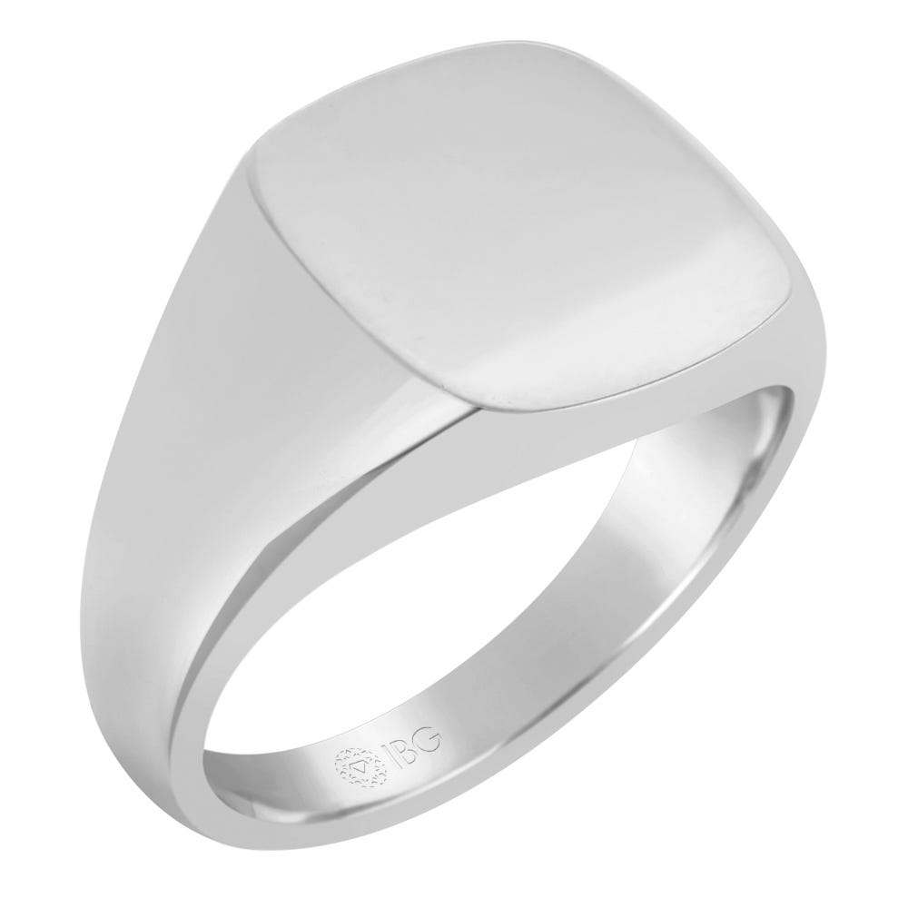 Cushion All polished Top Signet Ring 14x14mm in 14k White Gold