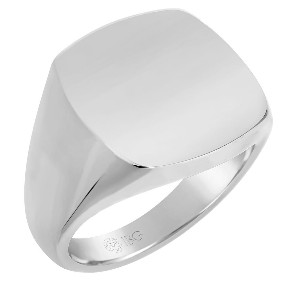 Cushion All polished Top Signet Ring 18x18mm in 14k White Gold