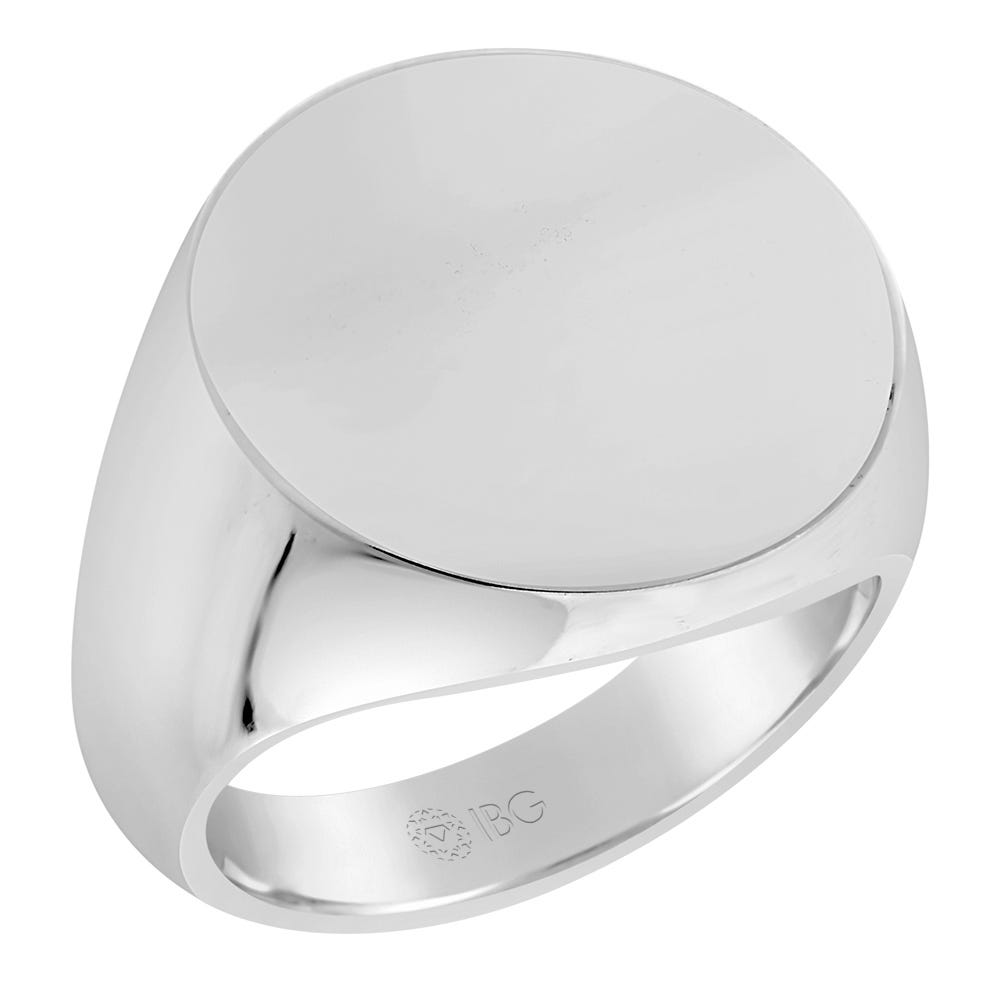 Round All polished Top Signet Ring 18x18mm in 14k White Gold