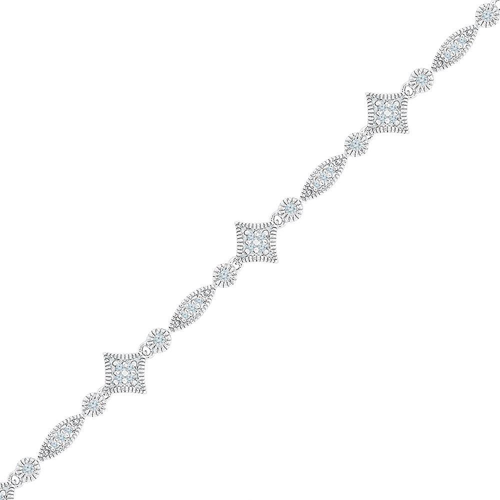Cluster Fashion Bracelet .33ctw in 10k White Gold