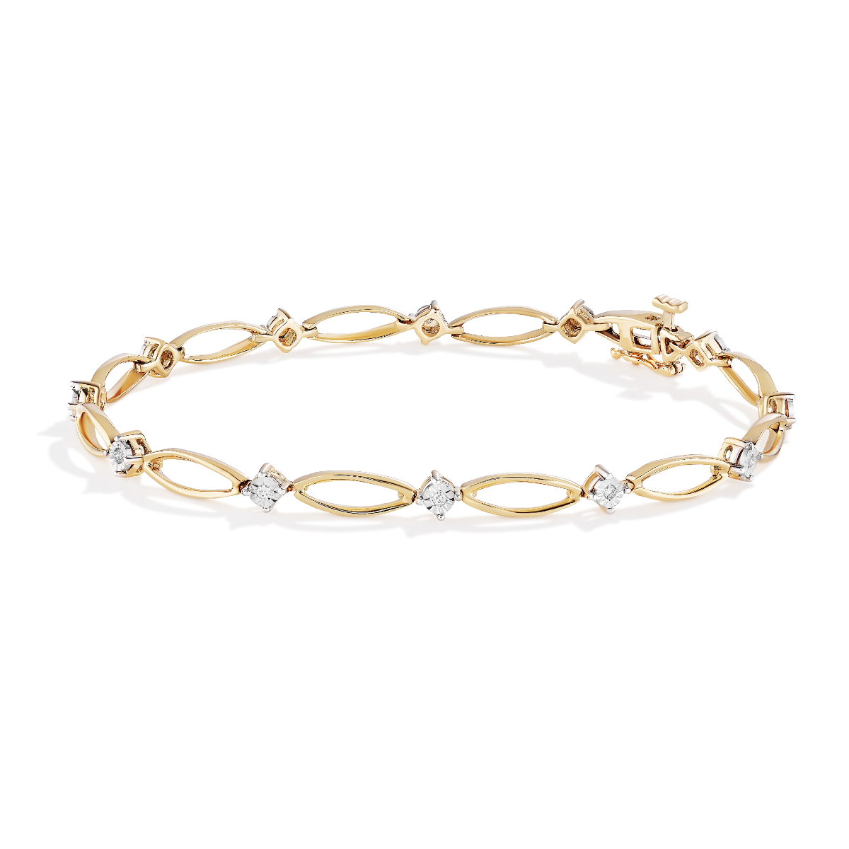 Marquise Shaped Bracelet .12ctw in 10k Yellow Gold