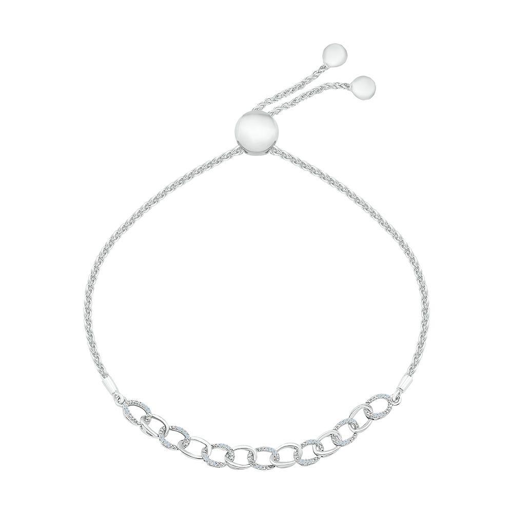 Link Bolo Bracelet .12ctw in Sterling Silver