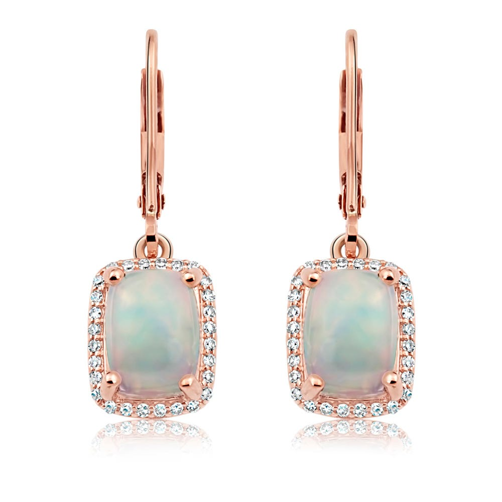JK Crown® Opal and Diamond Earrings in 10k Rose Gold