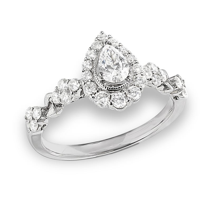 Adeaide. Classic Elegance Pear Halo Engagement Ring 7/8ctw. In 14k White Gold