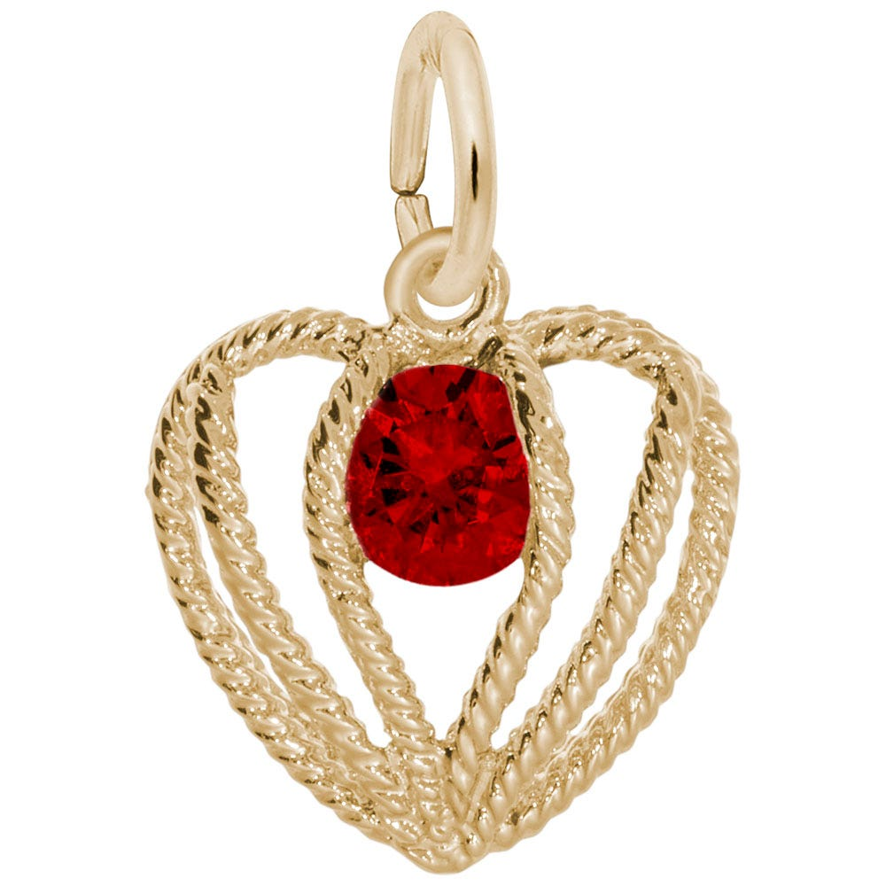 January Birthstone Held in Love Heart Charm in 10k Yellow Gold