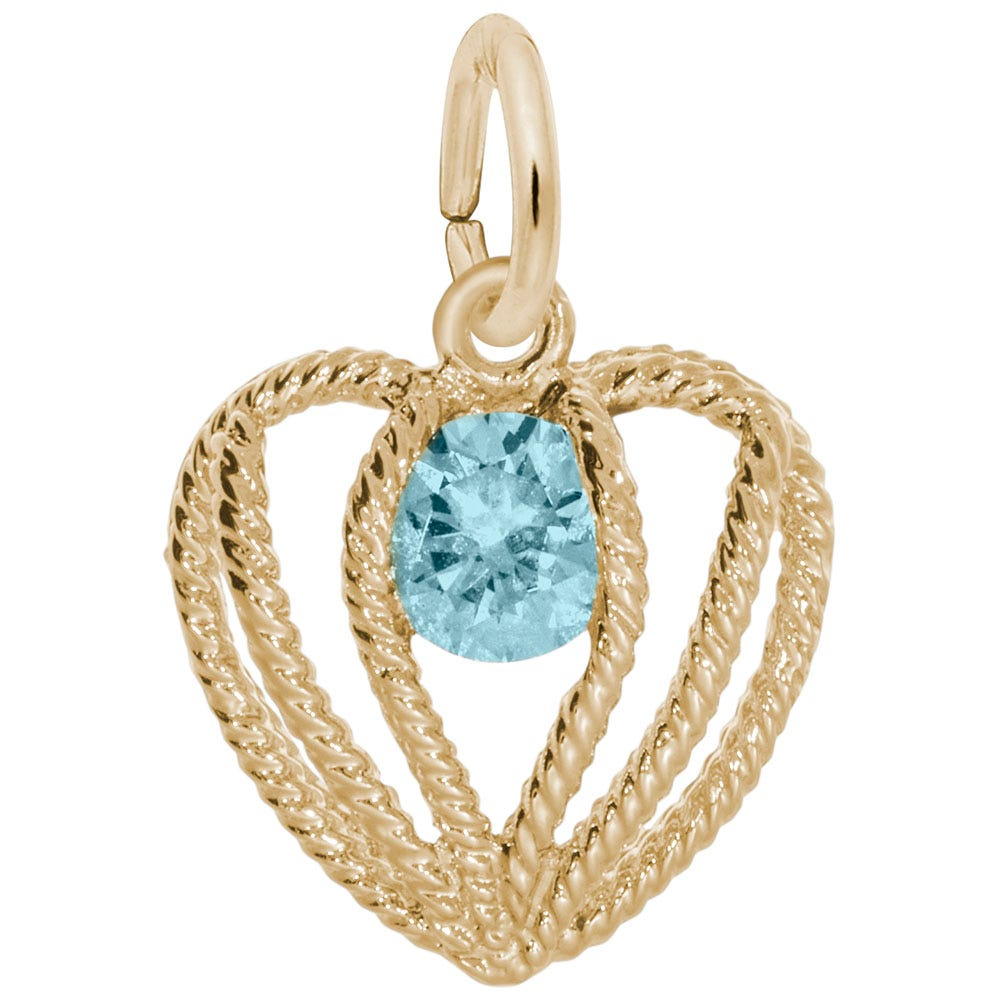 March Birthstone Held in Love Heart Charm in 10k Yellow Gold